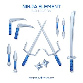Coleção de elementos ninja com design plano
