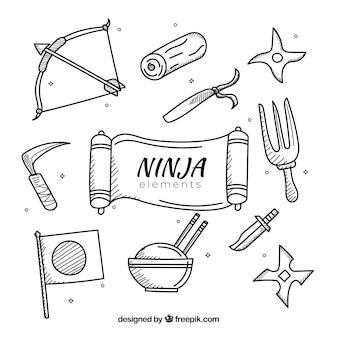 Coleção de elementos ninja na mão desenhada estilo