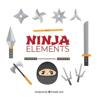 Coleção de elementos ninja