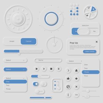 Coleção de elementos no estilo neumorfo
