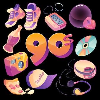 Coleção de elementos nostálgicos dos anos 90 com design plano