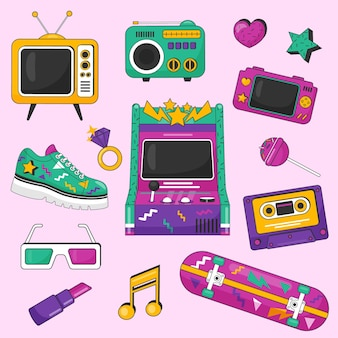 Coleção de elementos nostálgicos dos anos 90