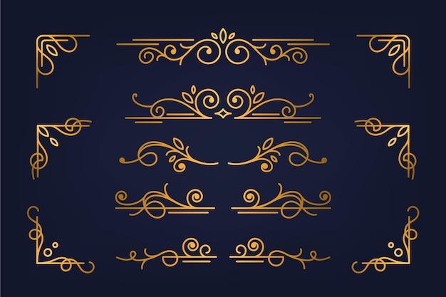 Coleção de elementos ornamentais caligráficos dourados