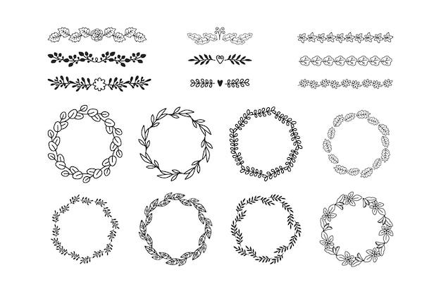 Coleção de elementos ornamentais desenhada à mão