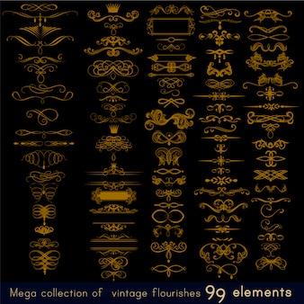 Coleção de elementos ornamentais dourados