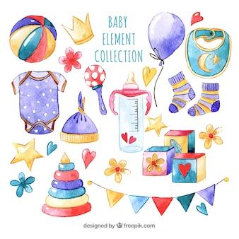 Coleção de elementos para bebês em estilo aquarela