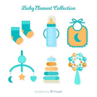 Coleção de elementos plana bebê