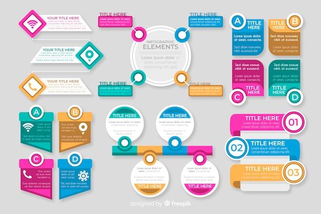 Coleção de elementos plana colorida infográfico