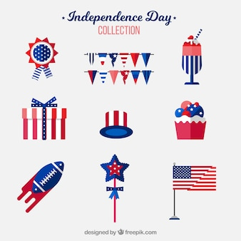 Coleção de elementos plana do dia da independência EUA