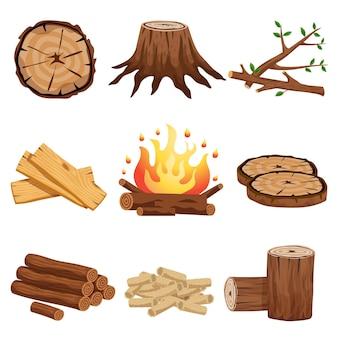 Coleção de elementos planos de lenha com galhos de tronco de árvore cortada logs segmentos circulares pranchas fogueira isolada