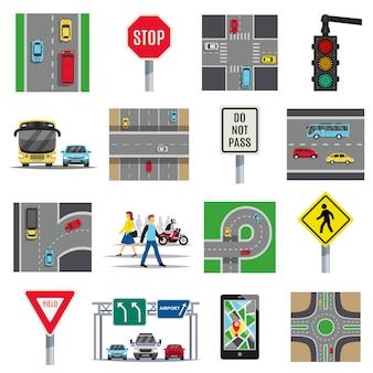 Coleção de elementos planos de sinais de trânsito