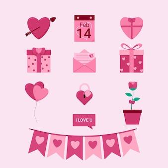Coleção de elementos planos do dia dos namorados