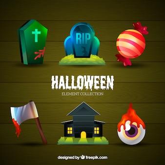 Coleção de elementos realistas de halloween