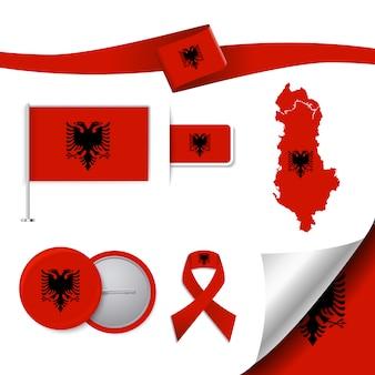 Coleção de elementos representativos da albânia
