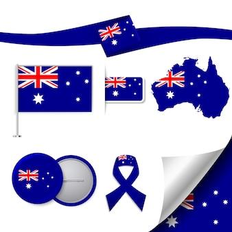 Coleção de elementos representativos da austrália