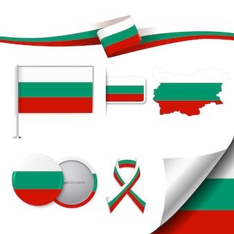 Coleção de elementos representativos da bulgária