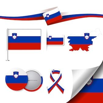Coleção de elementos representativos da eslovênia