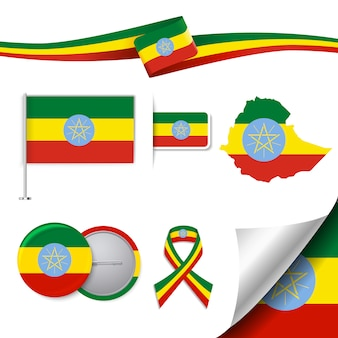 Coleção de elementos representativos da etiópia