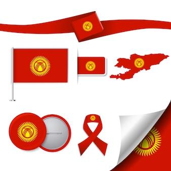 Coleção de elementos representativos do kyrgyztan