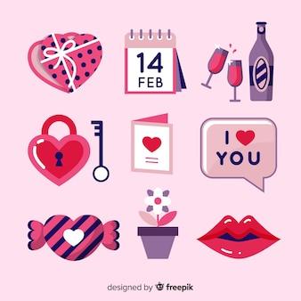 Coleção de elementos simples dos namorados