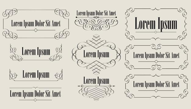 Coleção de elementos vintage caligráficos