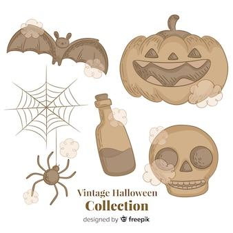 Coleção de elementos vintage halloween