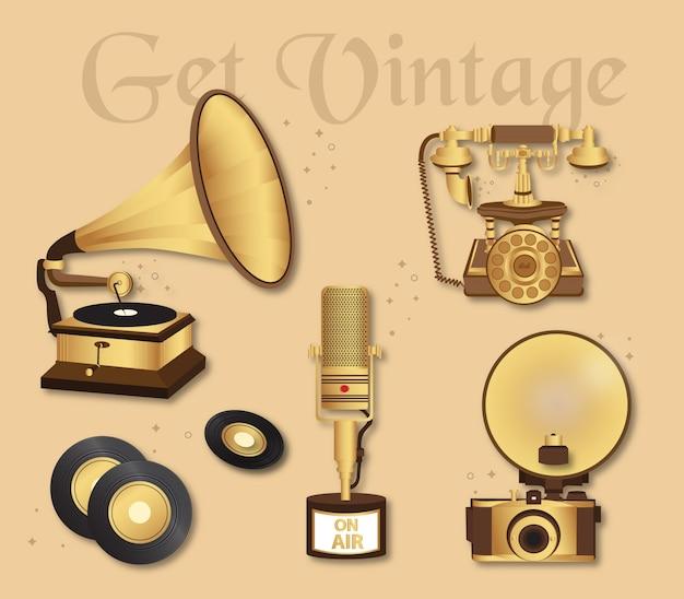 Coleção de elementos vintage