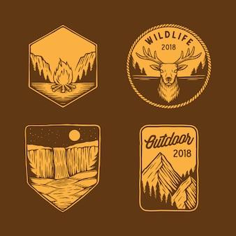 Coleção de emblema ao ar livre