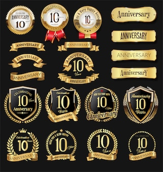 Coleção de emblema de comemoração de logotipo dourado de aniversário