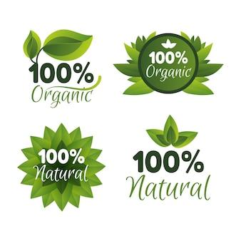 Coleção de emblemas cem por cento naturais