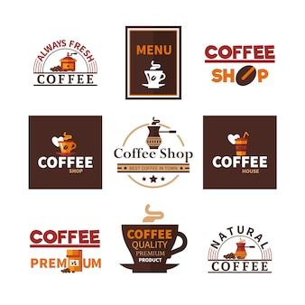 Coleção de emblemas coffee shop cafe