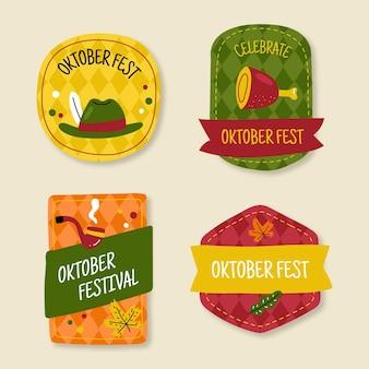 Coleção de emblemas da oktoberfest desenhada à mão