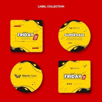 Coleção de emblemas da sexta-feira preta plana