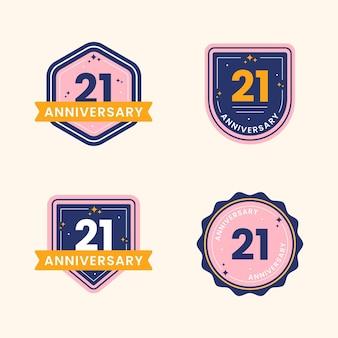 Coleção de emblemas de 21 anos de design plano