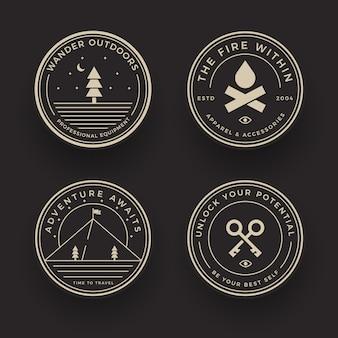 Coleção de emblemas de acampamento de aventura