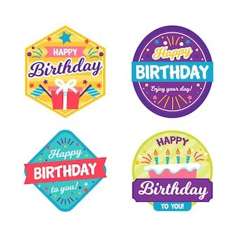 Coleção de emblemas de aniversário coloridos