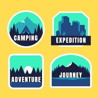 Coleção de emblemas de aventura plana