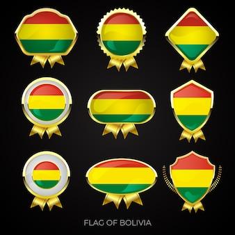 Coleção de emblemas de bandeira dourada de luxo da bolívia