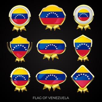 Coleção de emblemas de bandeira dourada de luxo da venezuela