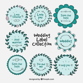 Coleção de emblemas de casamento azul redondo