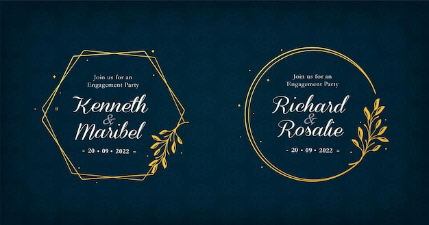 Coleção de emblemas de casamento com molduras douradas