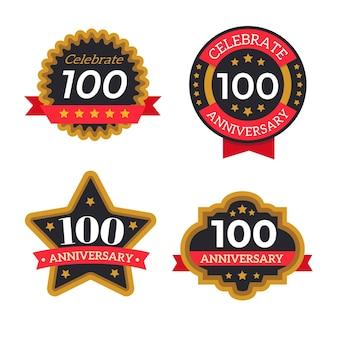 Coleção de emblemas de cem anos de aniversário