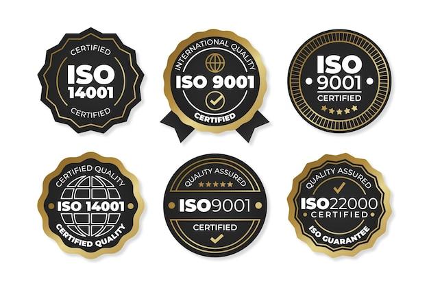 Coleção de emblemas de certificação iso