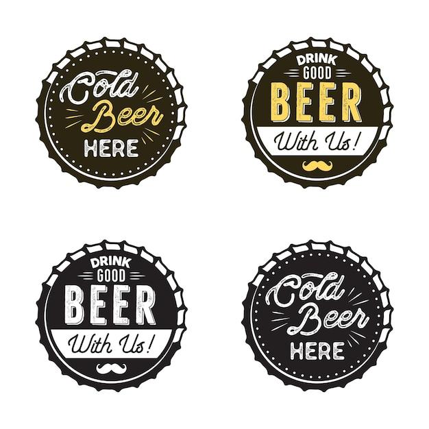 Coleção de emblemas de cerveja.