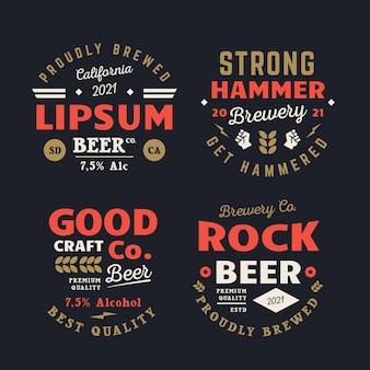 Coleção de emblemas de cervejaria retrô