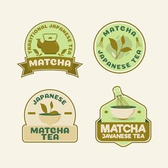Coleção de emblemas de chá matcha