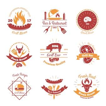 Coleção de emblemas de churrasco fresco