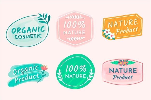 Coleção de emblemas de cosméticos da natureza