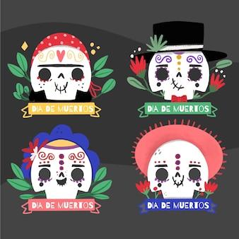 Coleção de emblemas de dia de muertos em design plano