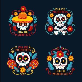 Coleção de emblemas de dia de muertos